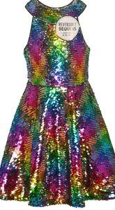 Girl's flip sequin rainbow silver party dress 5 5T